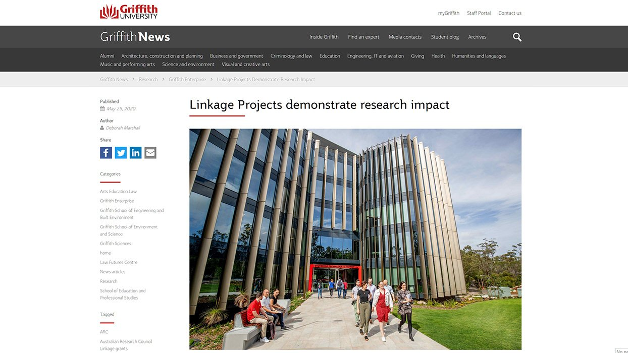 Griffith News: Linkage Projects demonstrate research impact